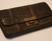 Vintage brown leather change coin purse.  Mock croc