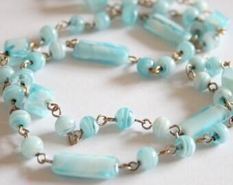 Vintage pale blue glass bead necklace.