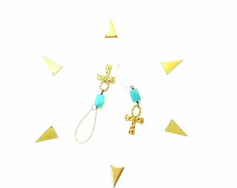 Gold ankh drop earrings - turquoise beaded dangle