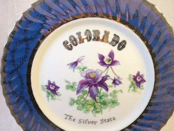 Vintage Colorado Souvenir Plate 1950s Norcrest China Collector Opalescent Purple Border Purple Columbines Silver State  State Plate Vintage