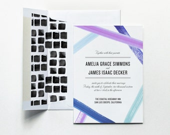 Wedding Invitations, Watercolor Wedding Invitation, Modern Wedding Invitation, Wedding Invite, Wedding Invitation Suite