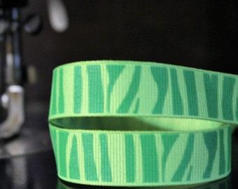 Green On Green Zebra Grosgrain Ribbon 5/8'