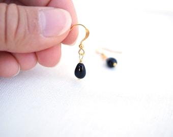 Summer Outdoors Small Black Earrings Black Bead Earrings Teardrop Earrings Black Glass Earrings Dangle Earrings Gold Earrings Drop Earring