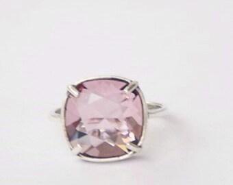 Pink Swarovski Ring Antique Pink Swarovski Pink Ring Pink Crystal Ring Pink Cushion Stone Ring Swarovski Antique Pink Ring