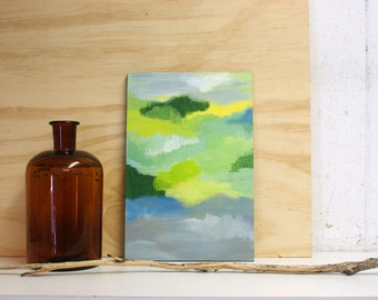 Moods abstract painting on small wooden panel - original - green and grey colours
