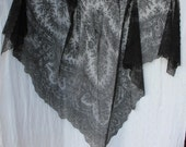 RESERVED.  For Nickie.   -  Antique Large Black Chantily Lace Shawl Lush with Flowers