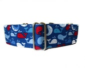 Blue Martingale Collar, 1.5 Inch Martingale Collar, Dog Collars for Boys, Whales, Blue Dog Collar, Sighthound Collar, Wide Dog Collar