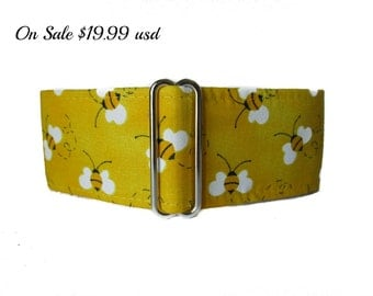 Bumble Bee Martingale Collar, 2 Inch Martingale Collar, Bumble Bee Dog Collar, Yellow Dog Collar, Greyhound Collar, Sighthound Collar