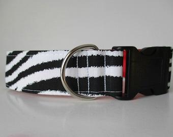 Zebra Dog Collar, Wide Dog Collar, Side Release Dog Collar, 1.5 Inch Dog Collar, Fabric Dog Collars, Dog Collars Canada