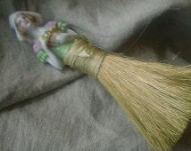 Antique DOLL Vanity Brush - ceramic whisk broom