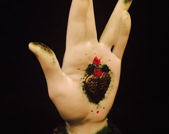 "lover's summer sale.•* Ooak handmade protection palm...""Double Crossed""..kiln fired stoneware ceramic clay LEFT hand of Luck"