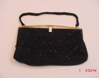 Vintage Black Bead Evening Formal Purse With Mother Of Pearl Trim  16 -370