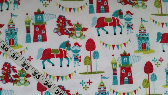 Kids flannel fabric knights dragon castles horse cotton print for Dragon fabric kids