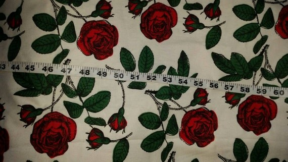 Flannel Fabric With Red Roses Flowers Cotton Print Quilt