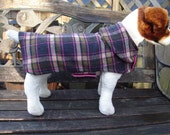 Custom Order for Jayne -Dog Jacket-Pink and Brown Plaid Wool Dog Coat-Size Medium