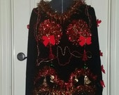 Ready to Ship, 3-D  Tacky Christmas Sweater, Black, Red and Gold tinsel Tree Boobs, Jingle Bells, Garland,  Beads, Hilarious, Adult humor