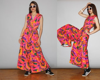 RARE 1960s Vintage Psychedelic Palazzo Pink Floral Bellbottom Jumpsuit  - Vintage 60s Jumpsuits - WD0842