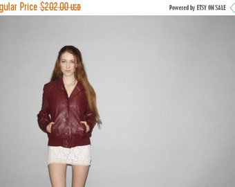 70% Off FINAL SALE - 1960s Vintage  Cherry Oxblood Genuine Leather Jacket  - Vintage 60s Leather Jacket  - WO0594