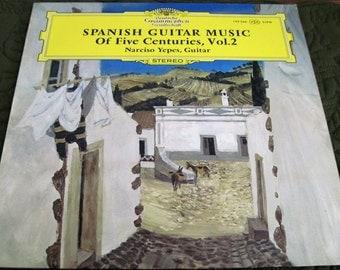 Vintage Deutsche Grammophon Stereo 139 366 Vinyl LP Record Album Spanish Guitar Music of Five Centuries Vol.2 Narciso Yepes