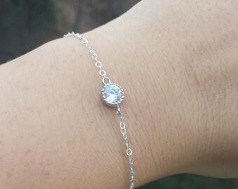 Sale-Tiny CZ dot silver gold bracelet,Diamond cut tiny dot bracelet,Bridesmaid gift,mother gift,Wedding Bridal Jewelry,personalized note