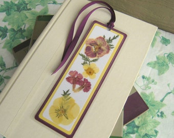 Bookmark Pressed Flower Purple and Yellow Fern Leaves Floral Collage Laminated