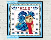 Ello Cross Stitch Pattern PDF - Labyrinth Worm Modern Cross Stitch Sampler - Instant Download