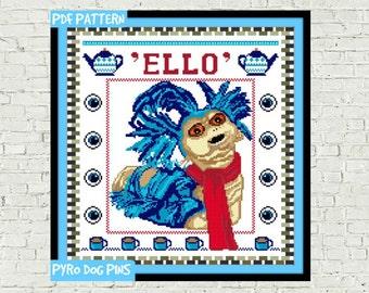 Ello Cross Stitch Pattern PDF - Labyrinth Worm Modern Cross Stitch Sampler - Instant Download