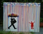 Childhood,singing in the rain,canvas painting,stencil art,pop art,man,girl,umbrella,spray paint art,handmade,graffiti,rain,design,clouds,