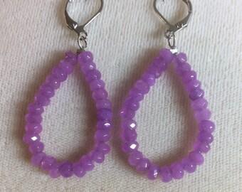 Pink Amethyst hoop earrings
