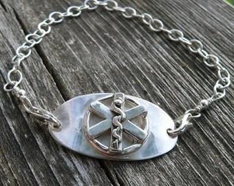 Original Sterling Medic Alert Bracelet...choice of FONTS, BANDS