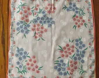 Vintage Pink Floral Printed Handkerchief