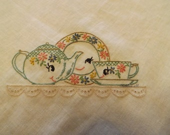 Luncheon Vintage Tablecloth, (Hand Embroidered In My Studio) and Restored With Vintage Dishes Design