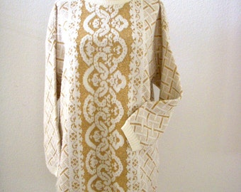 Vintage 80s White with Gold Lurex Tunic Sweater Dress - Oversized Gold and White Leggings Sweater - 1980s Long Tunic Pullover - Size Medium