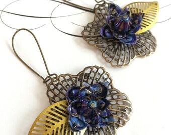 Origami flower earrings- midnight blues
