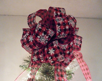 Large Christmas Tree topper bow Red and black plaid Burlap ribbon White Snowflakes