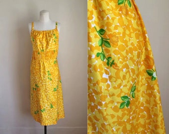 vintage 1970s floral dress - MARIGOLD yellow floral dress  / M/L