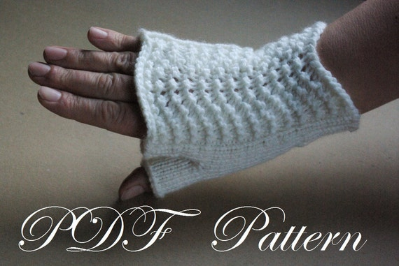 Hobo Gloves Knitting Pattern : Knit fingerless gloves PDF pattern unisex white by chiffonart