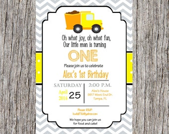 Dump truck birthday party Invitation, construction invitation, boy birthday party, construction, custom and printable
