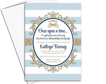 royal prince baby shower invitation for a boy navy blue and gold baby shower invites