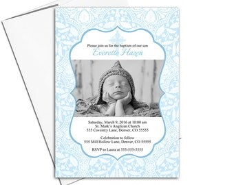 Printable Baptism Invitation Boy | blue christening invites with photo | DIY digital file or printed cards - WLP00252