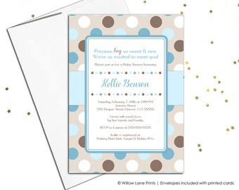 Printable baby boy shower invite - blue and brown baby shower ideas - digital baby shower invitations - or printed invitations - WLP00758