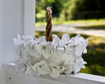Vintage flower girl basket, Off white flower girl wedding basket, Wedding basket
