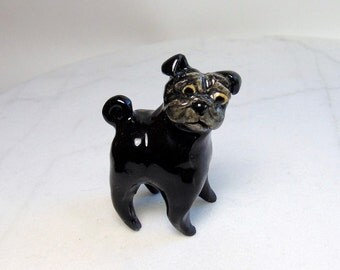 Black Pug Miniature - Pug Dog - Terrarium Miniature - Dog Figurine - Black Dog - Ceramic Figurine - Pottery Animal
