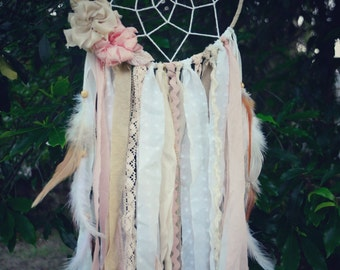 Peaches and dreams - Woodland rustic boho dreamcatcher with handmade silk flowers