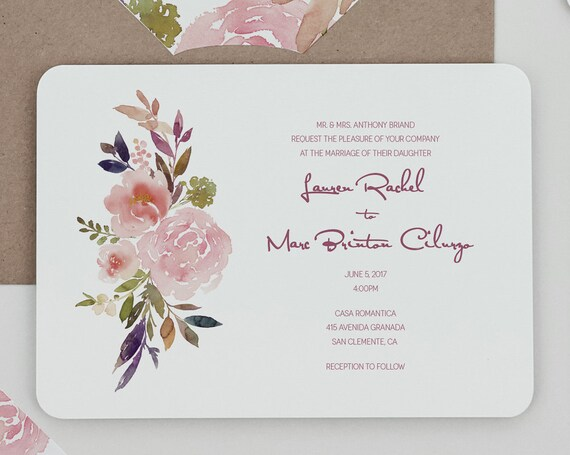 Rustic floral modern wedding invitation templaterustic mauve for Floral wedding invitations canada