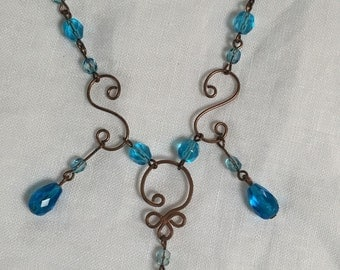 Blue Copper Wire Wrapped Necklace