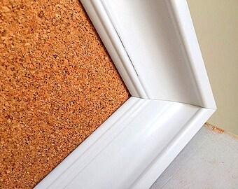 Modern FRAMED CORK BOARD Kitchen Organizer Artwork Display White Framed Pinboard Home Office Wall Organizer Girls Room Bulletin Board Decor