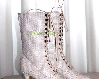 SALE Victorian Boots in White Woven White leather New 2016  Wedding shoes White Victorian Boots Bride shoes Ankle Boots
