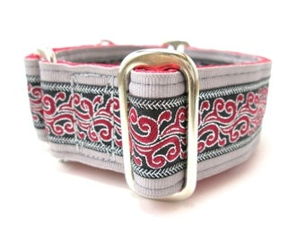 """Houndstown 1.5"""" Silver Dragon Fire Unlined Buckle or Martingale Collar, Any Size"""