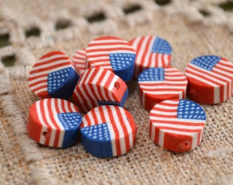10 Flag Beads USA 10mm Polyclay Polymer Clay Jewelry American Flag